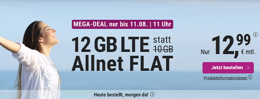 simply bietet 10 + 2 GB LTE Flat für 12,99 € pro Monat
