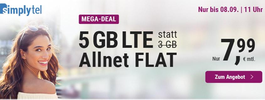 simply Aktionstarif: 5 GB für 7,99 €/mtl.