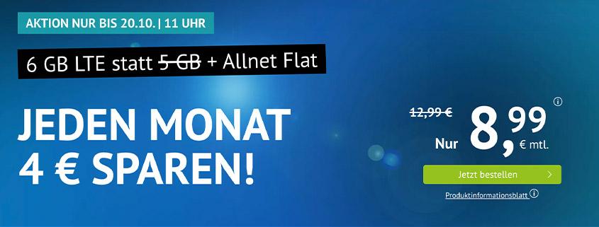 Aktion bei Handyvertrag.de - 6 GB LTE Allnet Flat für 8,99 €