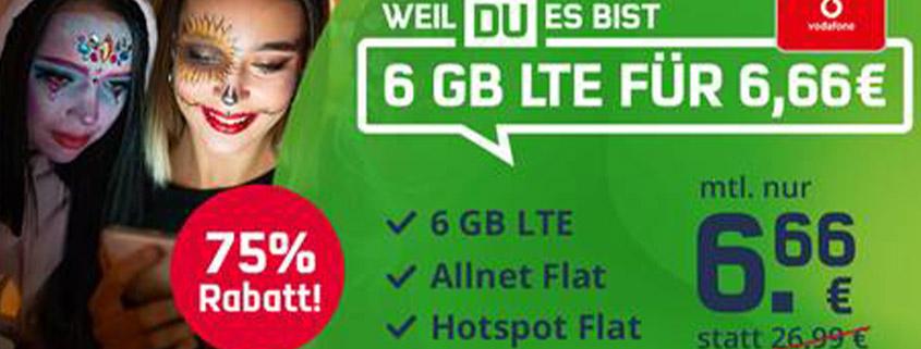 Halloween Deal: 6 GB Vodafone LTE Allnet Flat für nur 6,66 €/mtl.