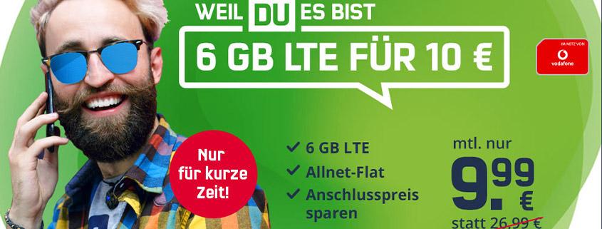 6 GB Vodafone LTE Allnet Flat für nur 9,99 €/mtl.