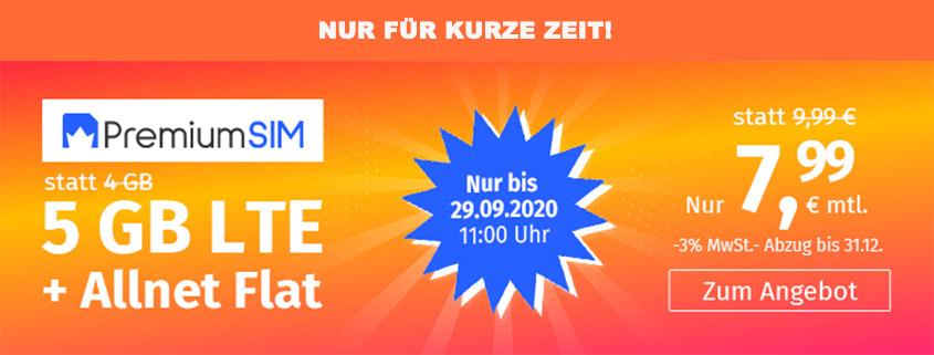 PremiumSIM bietet 5 GB LTE Allnet Flat für 7,99 €/mtl.
