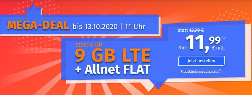PremiumSIM bietet 9 GB LTE Allnet Flat für 11,99 €/mtl.