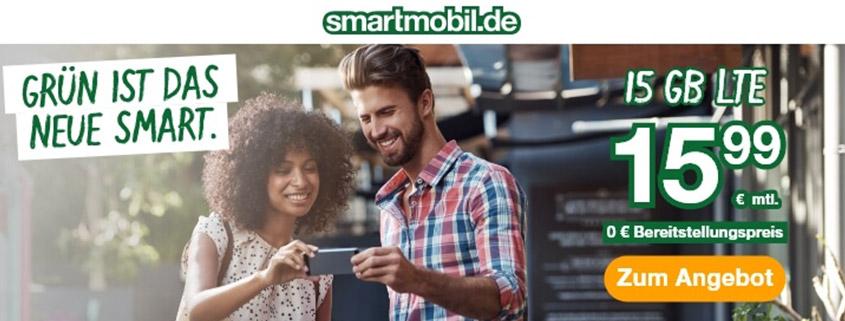 smartmobil bietet Dir eine 15 GB LTE Allnet-Flat für 15,99 €/mtl.
