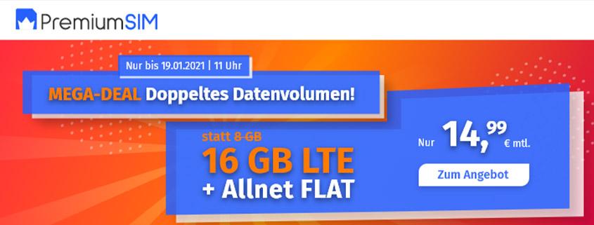 PremiumSIM bietet 16 GB LTE Allnet Flat für 14,99 €/mtl.