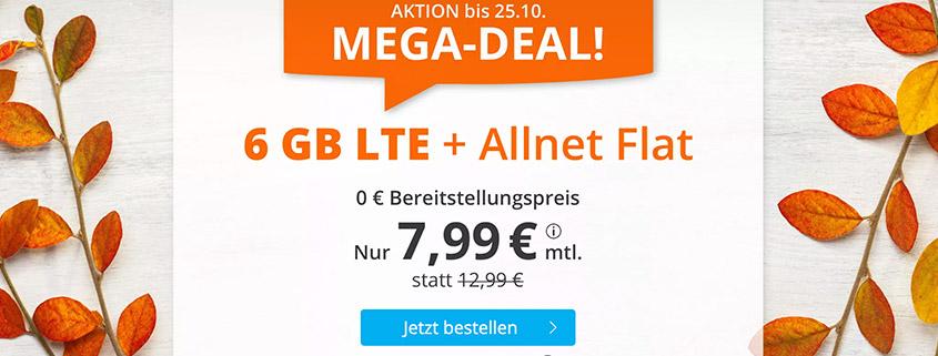 Aktionstarif - sim.de bietet 6 GB LTE Flat für 7,99 €/mtl. an