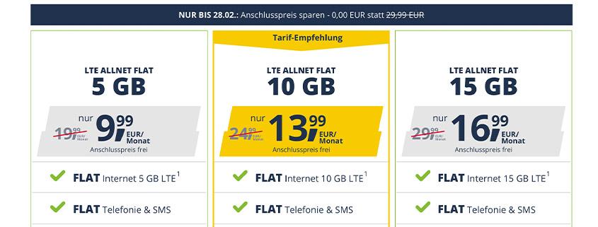 LTE Allnet Flat mit 5 / 10 / 15 GB im D2-Netz ab 9,99 € ohne Anschlusspreis