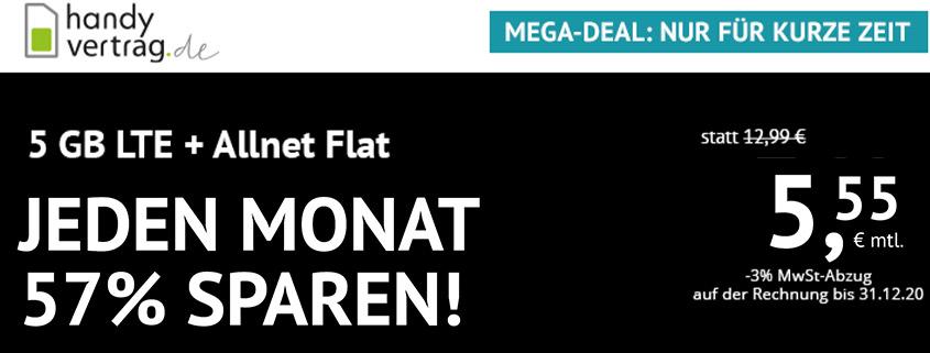 Aktion bei Handyvertrag.de - 5 GB LTE Allnet Flat für 5,55 €