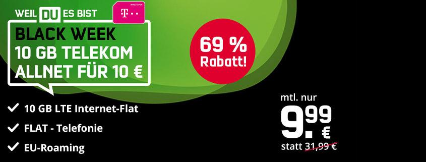 Mega Black Week Deal: 10 GB Telekom LTE Allnet Flat für nur 9,99 €/mtl.