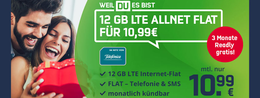 Valentinstag-Deal: monatlich kündbare 12 GB LTE Allnet-Flat nur 10,99 €/mtl.
