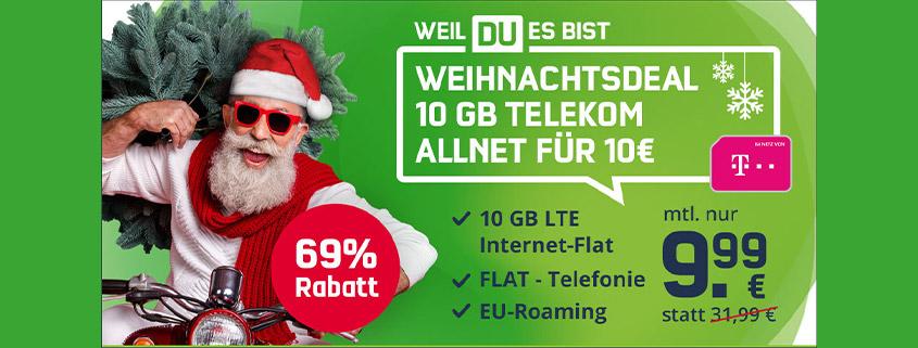 Weihnachtsdeal: 10 GB Telekom LTE Allnet Flat für nur 9,99 €/mtl.