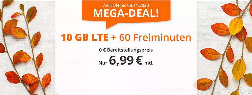Mega Spar Deal - 10 GB Tarif für nur 6,99 €im Monat
