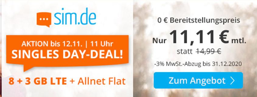 Mega-Aktion - 11 GB LTE Flat für 11,99 €bei sim.de