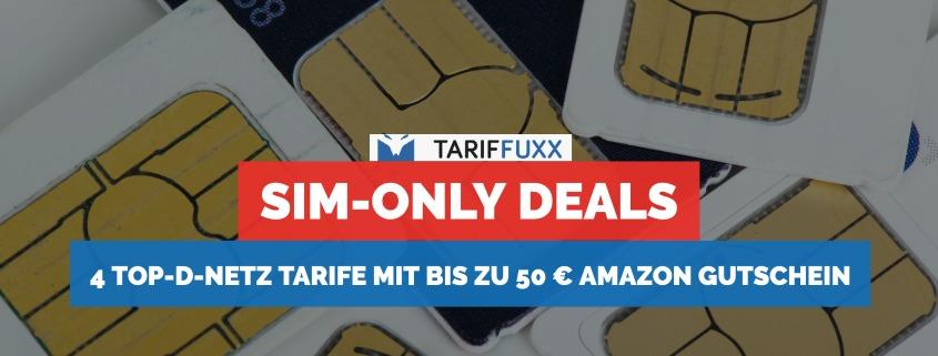 4 Top-D-Netz Tarife mit bis zu 50 €Amazon Gutschein