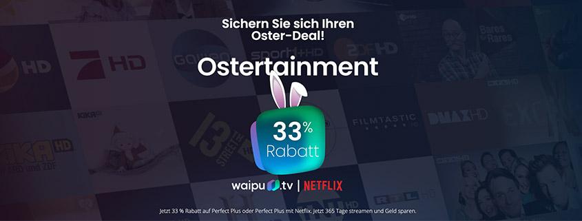 waipu.tv Osterangebot - 12 Monate lang 33 % sparen