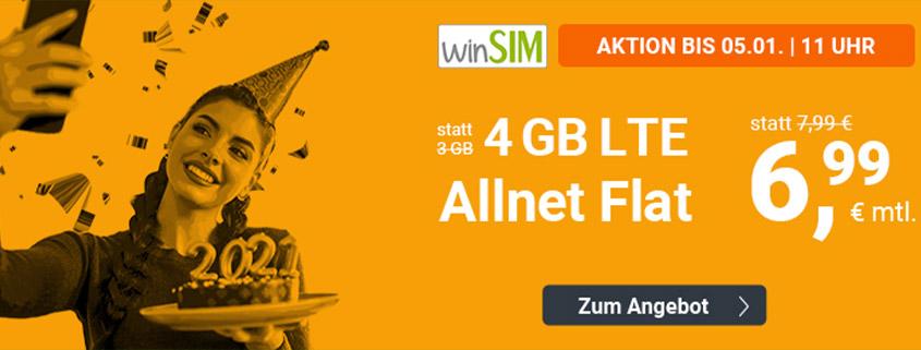 winsim LTE All 4 GB Aktionstarif für nur 6,99 € im Monat