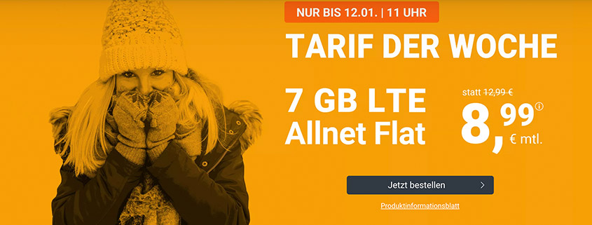 winSIM Top Deal - 7 GB LTE Flat für 8,99 €/mtl.