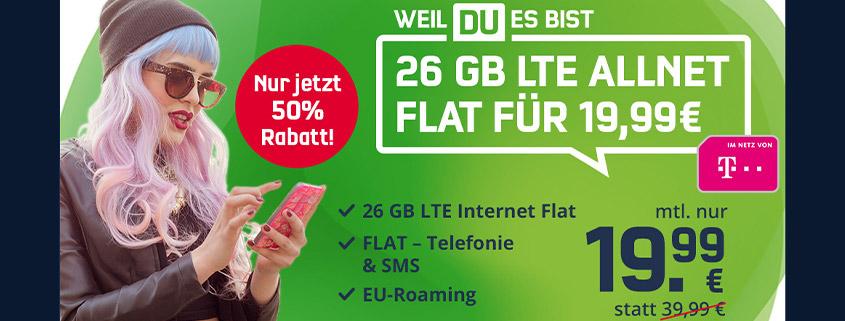 Mega-Deal: 26 GB Telekom LTE Allnet Flat für nur 19,99 €/mtl.