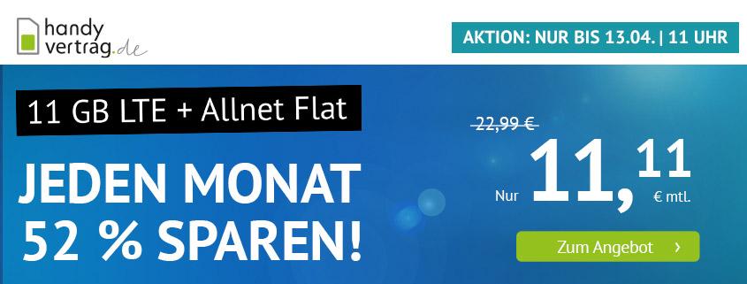 handyvertrag.de Aktionstarif: 11 GB LTE Flat für 11,11 €/mtl.