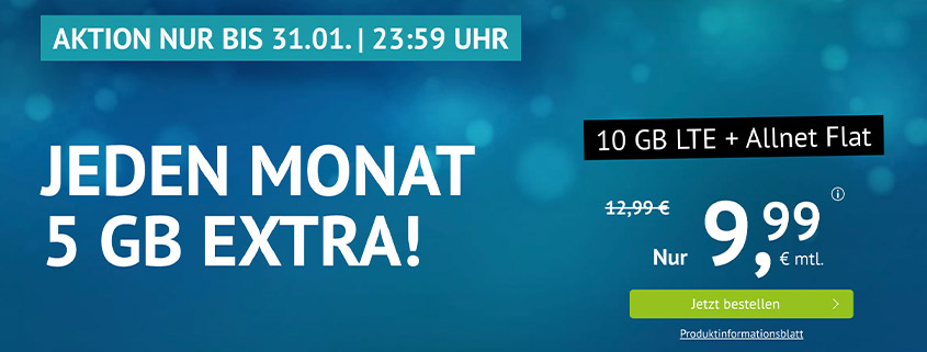 handyvertrag.de Aktionstarif: 10 GB LTE Flat für 9,99 €/mtl.
