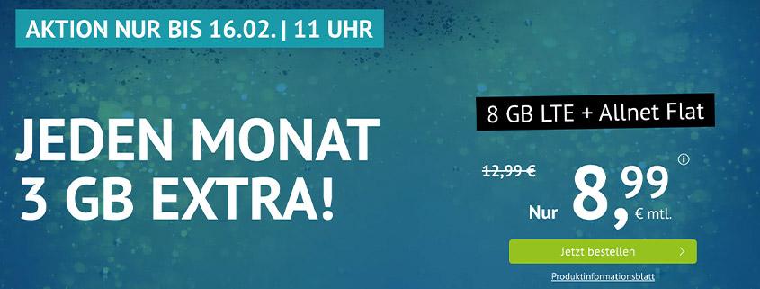 Aktion bei Handyvertrag.de - 8 GB LTE Allnet Flat für 8,99 €