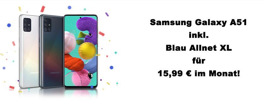 Samsung Galaxy A51 + 7 GB LTE Flat für 15,99 €/mtl.