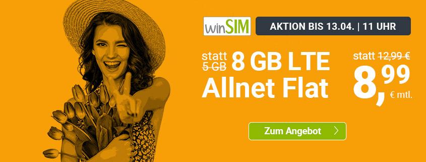 winSIM Top Deal - 8 GB LTE Flat für 8,99 €/mtl.