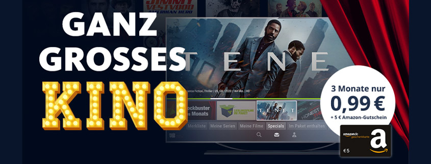 freenet Video 3 Monate für nur 0,99 € testen & 5 €Amazon Gutschein erhalten