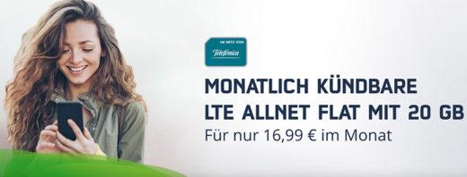 Monatlich kündbare 20 GB LTE Allnet Flat nur 16,99 €/mtl.