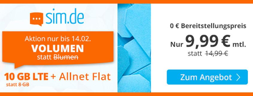 Mega-Aktion - 10 GB LTE Flat für 9,99 €bei sim.de