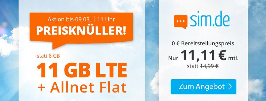 Mega-Aktion - 11 GB LTE Flat für 11,11 €bei sim.de