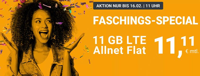 winSIM Fasching Special - LTE All 11 GB Tarif für nur 11,11 €
