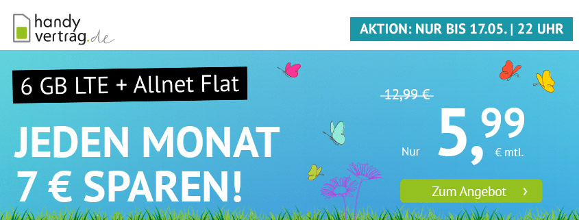handyvertrag.de startet mit LTE Allnet Flat mit 6 GB für 5,99 €
