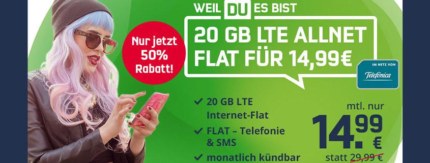 Monatlich kündbare 20 GB LTE Allnet-Flat für nur 14,99 €im Monat