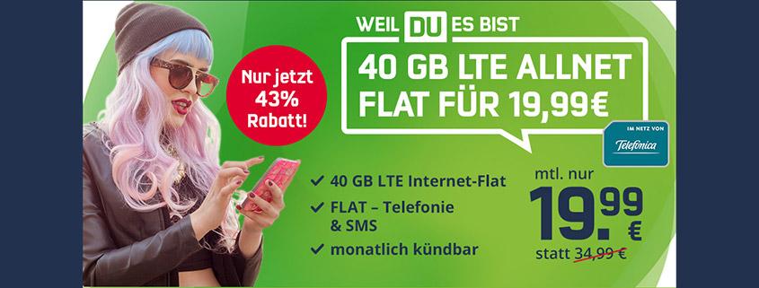 Monatlich kündbare 40 GB LTE Allnet-Flat für nur 19,99 €im Monat