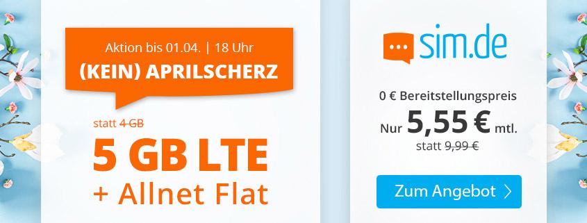 Aktionstarif - sim.de bietet 5 GB LTE Flat für 5,55 €/mtl. an