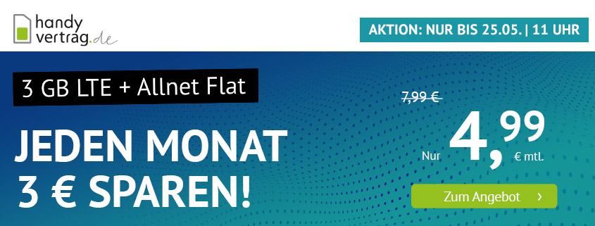 handyvertrag.de Deal - 3 GB LTE Allnet Flat für nur 4,99 €/mtl.