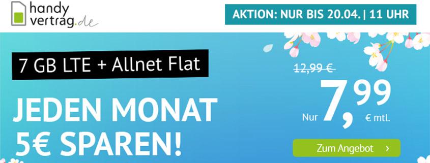 Aktion bei Handyvertrag.de - 7 GB LTE Allnet Flat für 7,99 €