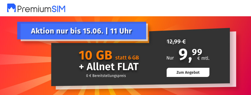 PremiumSIM bietet 10 GB LTE Allnet Flat für 9,99 €/mtl.