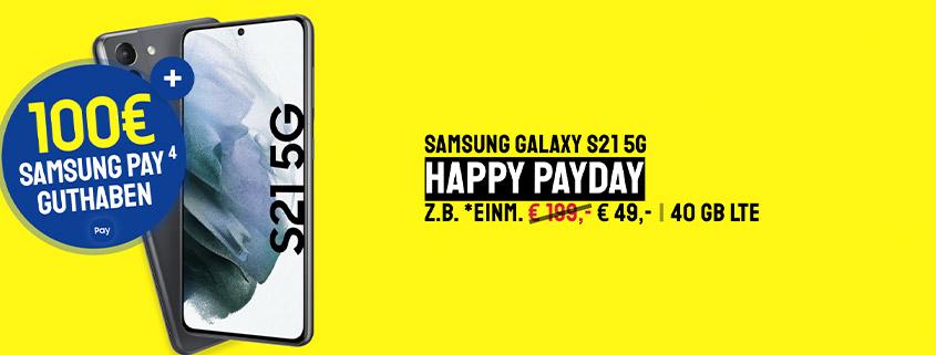 Samsung Galaxy S21 5G inkl. Flat für 34,99 €/mtl. kaufen & 100 € Samsung Pay Guthaben sichern