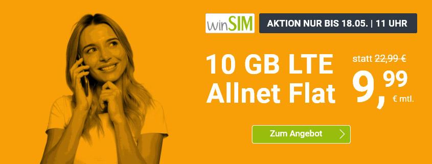 winSIM Special - LTE All 10 GB Tarif für nur 9,99 €