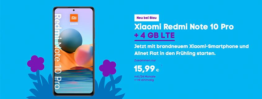Xiaomi Redmi Note 10 Pro + 4 GB LTE Flat für 15,99 €im Monat