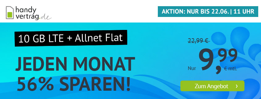 handyvertrag.de startet mit LTE Allnet Flat mit 10 GB für 9,99 €