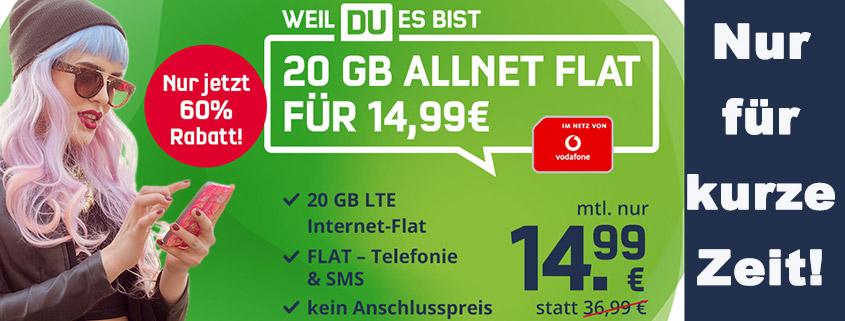 Top-Angebot - 20 GB Vodafone LTE Tarif für nur 14,99 € im Monat