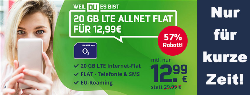 Mega-Aktion: o2 Free M mit 20 GB LTE für nur 12,99 €im Monat
