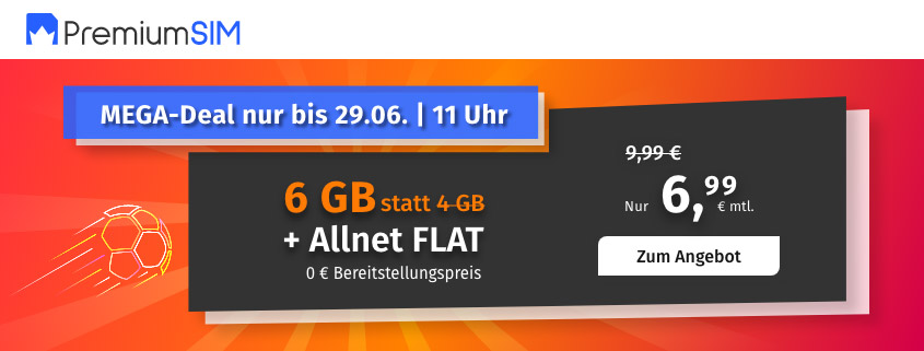 PremiumSIM bietet 6 GB LTE Allnet Flat für 6,99 €/mtl.