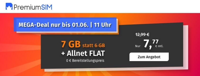 PremiumSIM bietet 7 GB LTE Allnet Flat für 7,77 €/mtl.
