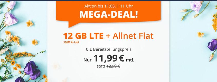 Top-Aktion - 12 GB LTE Flat für 11,99 €bei sim.de