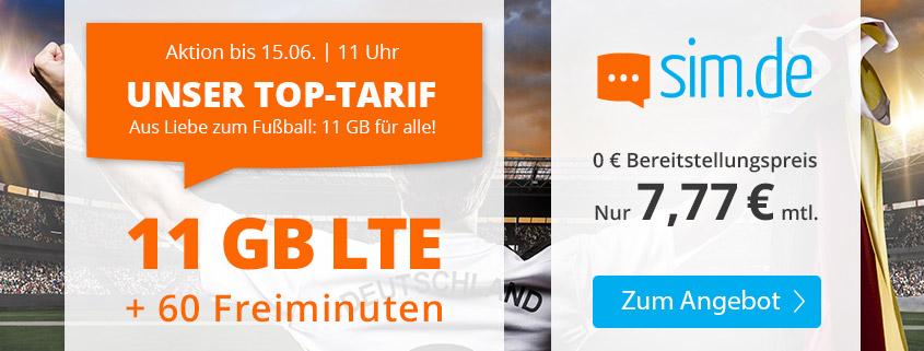 Top-Aktion - 11 GB LTE Tarif für 7,77 €bei sim.de