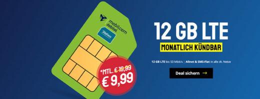 Mega Aktionsangebot: monatlich kündbare 12 GB LTE Allnet-Flat nur 9,99 €/mtl.